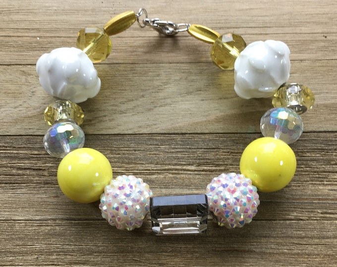 """CLEARANCE - Chunky yellow statement bracelet with yellow and white beads with silver lobster clasp closure 8"""" long"""