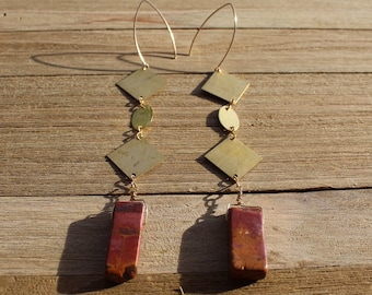 Red creek jasper stone shoulder duster earrings, with brass squares and oval attached to 14k gold filled earwires