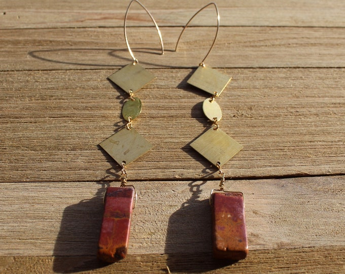 Red creek jasper stick beads with brass squares and oval shoulder duster earrings on 14k gold filled ear wires