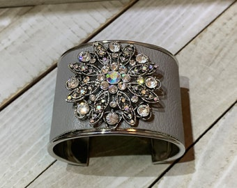Silver, grey leather & upcycled monet brooch with rhinestone embellishment inlaid leather cuff bracelet