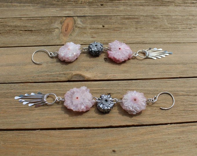 Pink dyed stalactite and silver solar quartz stalactite flowers, with silver fringe and attached to silver 925 sterling silver earwires