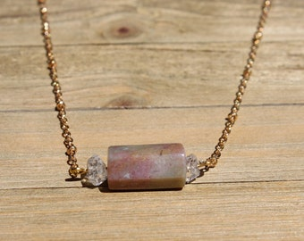 Brown and purple Indian agate with herkimer diamond dainty pendant on a brass delicate chain necklace