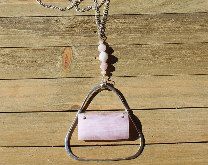 Genuine morganite (pink beryl) stone pendant wire wrapped inside sterling silver triangle on decorative silver chain with morganite accents
