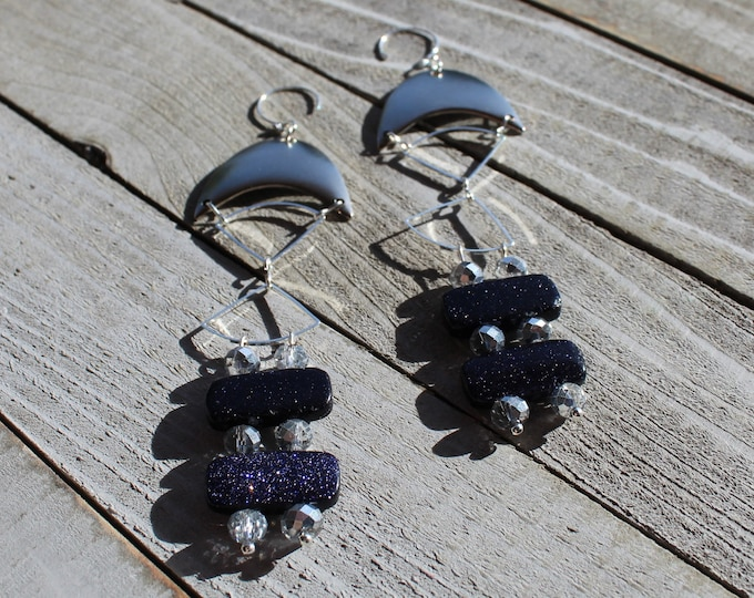 Silver crescents and pie shapes with dark blue goldstone and czech glass beads on 925 sterling silver ear wires