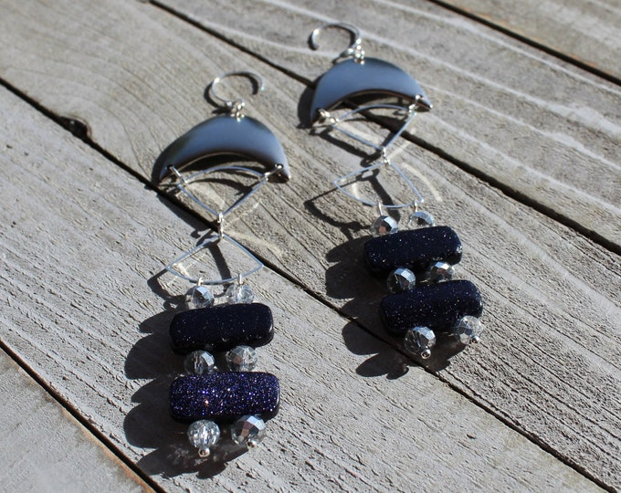 Starry night dark blue goldstone beads with czech glass and silver findings, hanging from 925 sterling silver ear wires