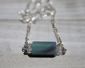 Green and purple Indian agate with herkimer diamond dainty pendant on a silver delicate chain necklace