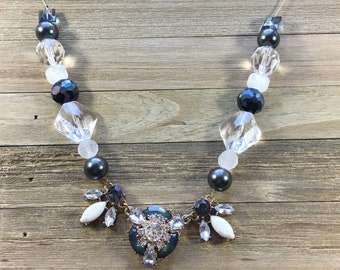 CLEARANCE! Gold, blue, clear, grey and white statement necklace with rhinestones and faceted beads on clear cording with gold lobster clasp