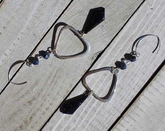 Blue goldstone kite stones suspended under sterling silver triangles with white topaz and dumortierite on 925 sterling silver earwires