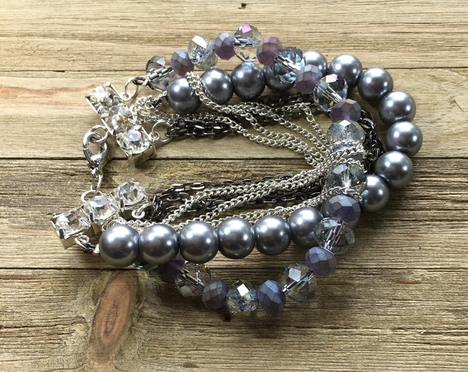 Featured listing image: Chunky multi strand statement bracelet dark grey glass pearl & czech glass grey beads with silver gunmetal chains on silver rhinestone bar