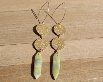 Pointed green serpentine with brass embossed flower ovals on 14k gold filled earwires