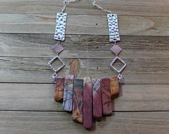 Red creek jasper stick bead pendant on silver geometric chain