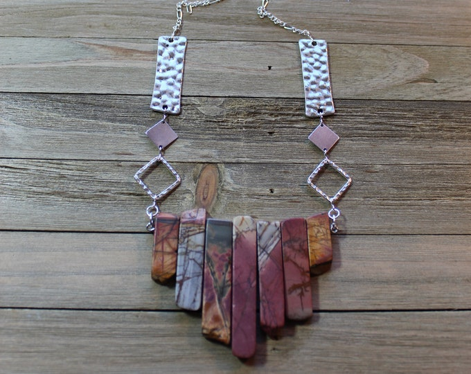 Red creek jasper stick bead pendant on silver geometric chain