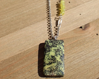 Serpentine pendant with bright green chalcedony accent beads on a silver rolo chain, closes with S hook