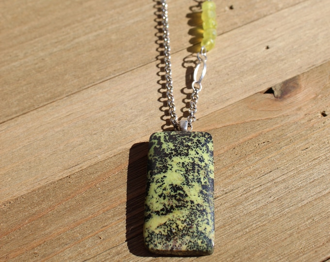 Serpentine pendant with bright green chrysoprase accent beads on a silver rolo chain, closes with S hook