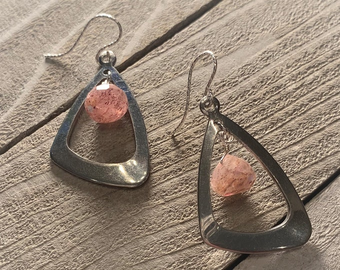 Faceted polished Russian muscovite onion beads suspended inside stainless steel triangle shapes, hanging from 925 sterling silver earwires