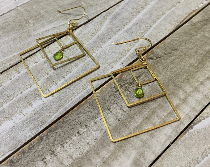 Peridot faceted briolettes and rondells inside brass square geometric shapes on 14k gold filled french hook earwires