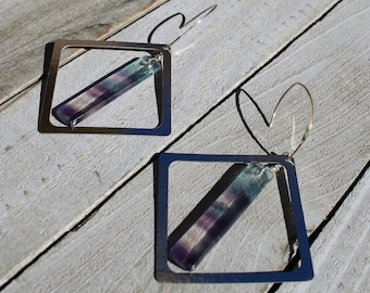 Rectangle purple and green fluorite suspended inside silver square, attached to silver 925 sterling silver french hooks