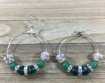 CLEARANCE! Green agate czech glass beads & rhinestone balls with rhinestone spacer beads on round loop/hoop earrings on silver french hooks