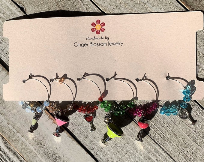 Set of 6 Wine Glass Charms - Limited Time Only - Margarita glass and wine glass charms