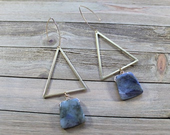 Chunky large labradorite suspended from brass triangles on 14k gold filled french hooks