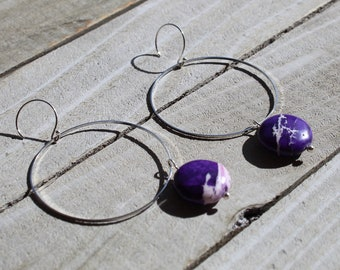 Dyed purple magnesite stone coin, suspended from skinny silver circle and hung from silver 925 sterling silver french hooks