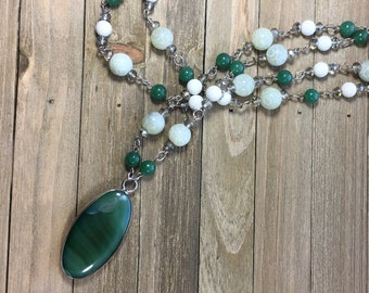 CLEARANCE! Hand beaded vanilla magnesite green agate carved jade bead statement necklace & green agate stone encased in silver