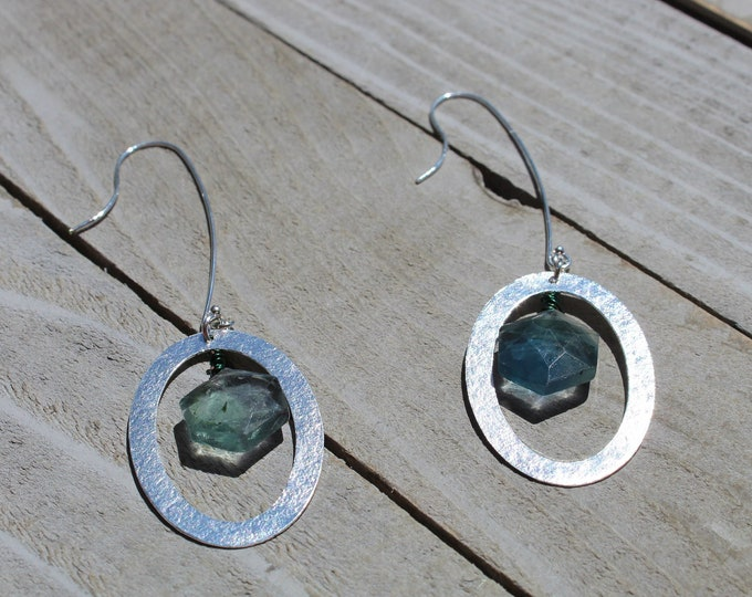 Octagon blue and green flourite suspended inside silver oval findings hanging from silver 925 sterling silver french hooks