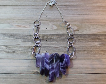 Genuine amethyst polished stick beads on decorative silver chain