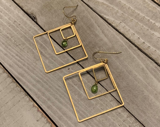 Featured listing image: Semi-precious peridot faceted briolettes, suspended inside three graduated brass square shapes on 14k gold filled french hook earwires