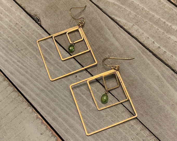 Semi-precious peridot faceted briolettes, suspended inside three graduated brass square shapes on 14k gold filled french hook earwires