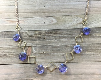 Geometric brass and polished purple dyed quartz briolette beads on brass chain