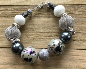 """CLEARANCE - Chunky black and silver mesh statement bracelet with black and white beads with silver lobster clasp closure 8"""" long"""