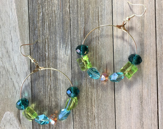 CLEARANCE! Handcrafted green lime turquoise gold and emerald glass beaded gold long earring round hoop / loop earrings on gold french hook