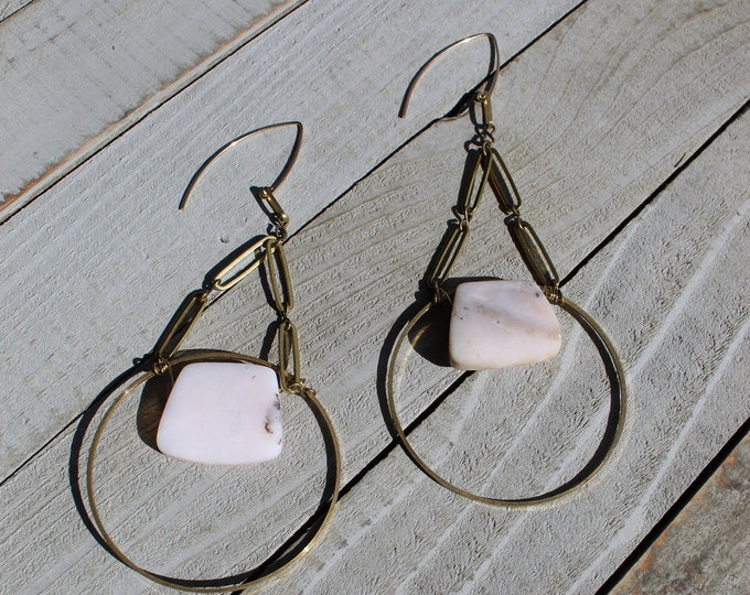 Geometric Peruvian pink opal trapezoid stones inside brass circle with brass oval findings on 14k gold filled ear wires shoulder dusters
