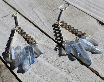 Silver circle bars with blue/gray aura quartz points suspended from silver bars and 925 sterling silver earwires