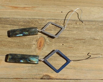 Labradorite rectangle suspended from silver squares on long silver 925 sterling silver french hooks