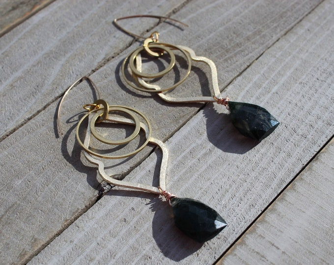 Green moss agate briolette gemstone earrings with gold geometric shapes on 14k gold filled ear wires