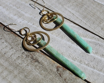 Amazonite stick beads suspended inside brass circle shapes on 14k gold filled earwires