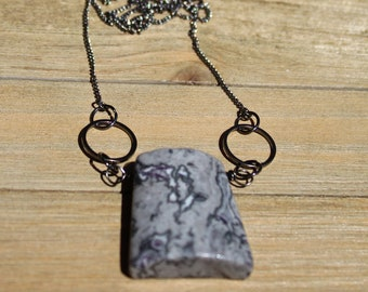 Grey map jasper chunky simple pendant on a geometric gunmetal chain necklace