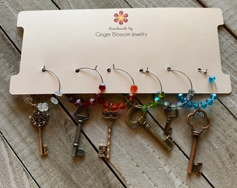 Set of 6 Wine Glass Charms Mixed Metal Long Keys