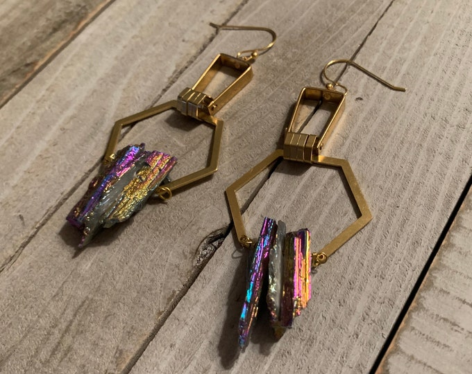 Rainbow electroplated calcite on octagon shaped brass shoulder duster earrings on 14k gold filled ear wires