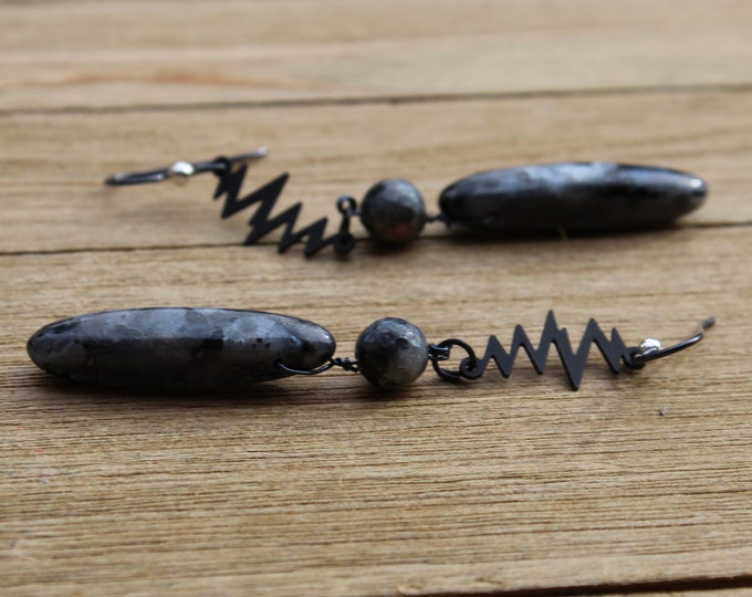 Larvakite (dark labradorite) and matte black shoulder duster earrings on nickel free black niobium ear wires