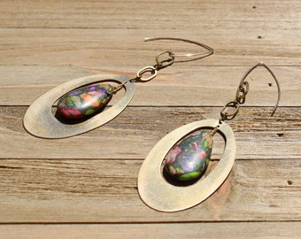 Rainbow jasper teardrop stone, suspended inside brass oval with brass oval findings, and hanging from 14k gold filled earwires
