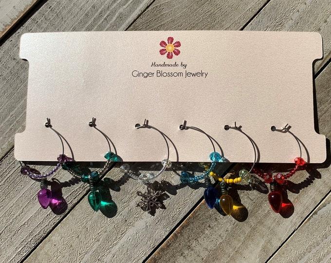 Set of 6 Wine Glass Charms  Christmas light charms with snowflake Christmas / Winter