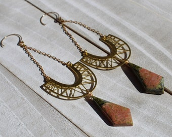 Unakite jasper under brass diamond crescent suspended from brass chain attached to 14k gold filled earwires