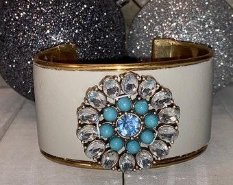 Brass beige leather & rhinestone brass flower embellishment inlaid cuff bracelet