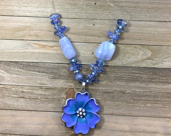 CLEARANCE! Periwinkle blue pendant w silver & teal metal flower, faceted glass beads, tanzanite stones and blue lace agate