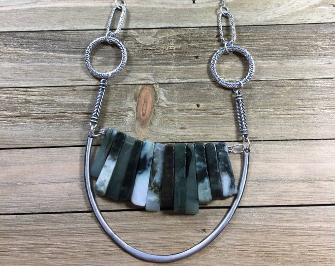 Jade stick bead stone necklace with silver U accent on funky silver geometric chain