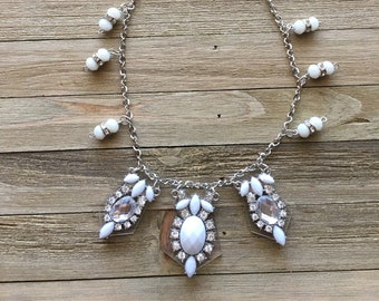 CLEARANCE! Ethereal white rhinestone acrylic pendant necklace on silver chain with hand looped beads in white and clear with rhinestone bead