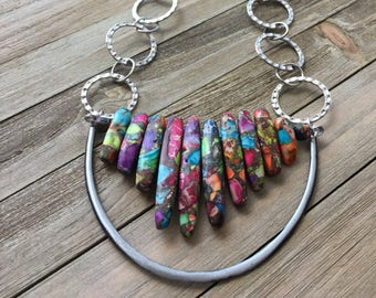 Imperial rainbow sea sediment jasper stone graduated stick bead with czech glass beads on silver geometric chain